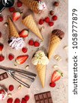 set of ice cream scoops of... | Shutterstock . vector #1058777879