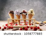 set of ice cream scoops of... | Shutterstock . vector #1058777885