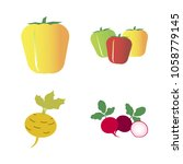 vegetables icon set with 4... | Shutterstock .eps vector #1058779145