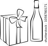 wine bottle and gift pack... | Shutterstock . vector #1058780171