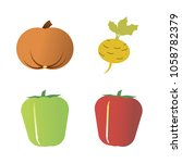 vegetables icon set with 4... | Shutterstock .eps vector #1058782379
