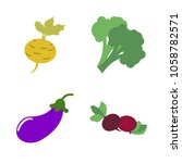 vegetables icon set with 4... | Shutterstock .eps vector #1058782571