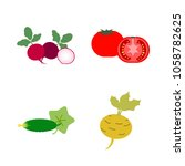 vegetables icon set with 4... | Shutterstock .eps vector #1058782625