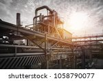 pipeline and pipe rack of... | Shutterstock . vector #1058790077