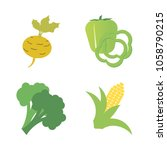 vegetables icon set with 4... | Shutterstock .eps vector #1058790215
