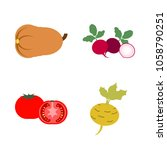 vegetables icon set with 4... | Shutterstock .eps vector #1058790251