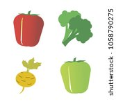 vegetables icon set with 4... | Shutterstock .eps vector #1058790275