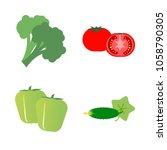 vegetables icon set with 4... | Shutterstock .eps vector #1058790305