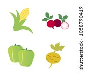 vegetables icon set with 4... | Shutterstock .eps vector #1058790419
