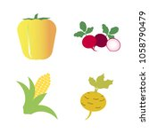 vegetables icon set with 4... | Shutterstock .eps vector #1058790479