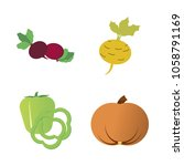 vegetables icon set with 4... | Shutterstock .eps vector #1058791169