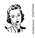 concerned woman   retro clipart ... | Shutterstock .eps vector #105879449