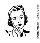 Concerned Woman - Retro Clipart Illustration   Shutterstock vector #105879449
