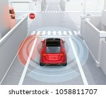 rear view of red suv in one way ... | Shutterstock . vector #1058811707