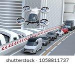 White Passenger Drone Flying...