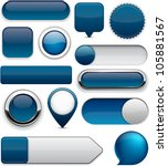 blank dark blue web buttons for ... | Shutterstock .eps vector #105881567