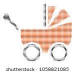 baby carriage halftone vector...   Shutterstock .eps vector #1058821085