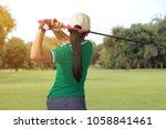golfer women player hit swing... | Shutterstock . vector #1058841461