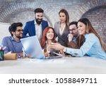 group business people meeting... | Shutterstock . vector #1058849711