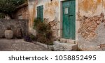 traditional greek house with... | Shutterstock . vector #1058852495