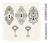 illustration with vintage keys... | Shutterstock .eps vector #1058859344