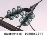 electric pole with power line.... | Shutterstock . vector #1058863844