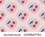 seamless pattern with cherries | Shutterstock .eps vector #1058869781