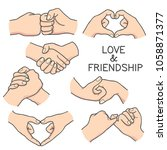 love and friendship hand... | Shutterstock .eps vector #1058871377
