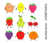 set of cute cartoon fruit....   Shutterstock .eps vector #1058876831