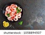 prawns on plate. shrimps ... | Shutterstock . vector #1058894507