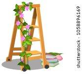 the wooden mobile step ladder... | Shutterstock .eps vector #1058896169