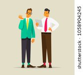 conversation of two business... | Shutterstock .eps vector #1058904245