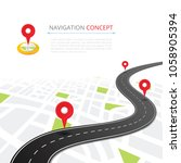 navigation concept with pin... | Shutterstock . vector #1058905394