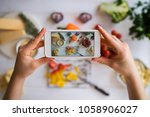 food blogger concept. young... | Shutterstock . vector #1058906027