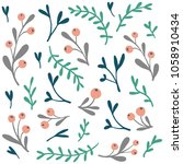 vector set of doodle floral... | Shutterstock .eps vector #1058910434