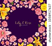rose and lily wedding invittion.... | Shutterstock .eps vector #1058917637