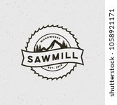 sawmill logo. retro styled... | Shutterstock .eps vector #1058921171
