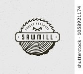 sawmill logo. retro styled... | Shutterstock .eps vector #1058921174