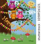 a cute flirtatious owl sits on...   Shutterstock .eps vector #1058926121