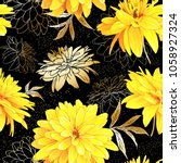 seamless pattern with flowers... | Shutterstock .eps vector #1058927324