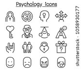 Psychology Icon Set In Thin...
