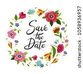wedding wreath save the date.... | Shutterstock .eps vector #1058936957