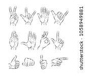 set of hands showing different... | Shutterstock .eps vector #1058949881