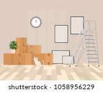 room in the process of moving.... | Shutterstock .eps vector #1058956229