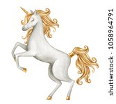 watercolor unicorn illustration ... | Shutterstock . vector #1058964791