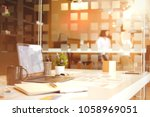 side view of office desktop... | Shutterstock . vector #1058969051