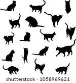 cat silhouette black on white... | Shutterstock . vector #1058969621