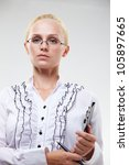 businesswoman with a folder - stock photo