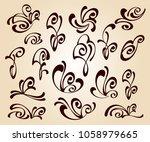 set of floral design elements... | Shutterstock .eps vector #1058979665