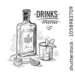 bottles and glass for alcohol... | Shutterstock .eps vector #1058983709